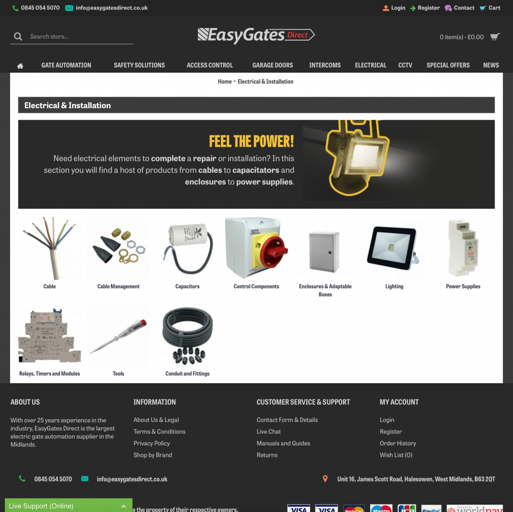 EasyGates Direct Electrical Section