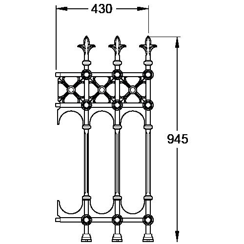 Stewart Collection Half Height Cast Iron Railing Panel