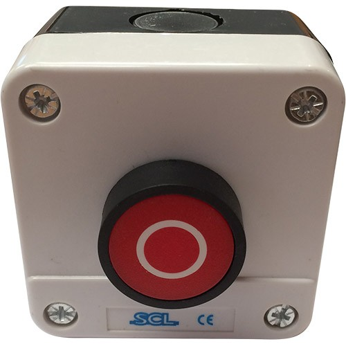 Red Pushbutton with 1 NC Contact - Grey Enclosure - IP65