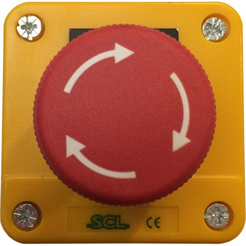 Red Emergency Stop - Twist to Release - Yellow Enclosure - IP65